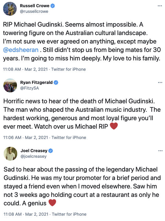 Members of the Australian entertainment industry shared their tributes for Michael. Photo: Twitter