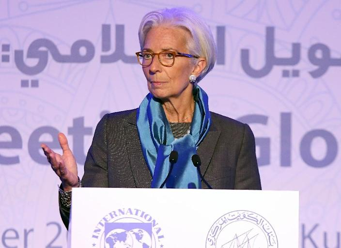 The head of the International Monetary Fund, Christine Lagarde, delivers a speech during the international conference on Islamic finance, in Kuwait City on November 11, 2015 (AFP Photo/Yasser al-Zayyat )