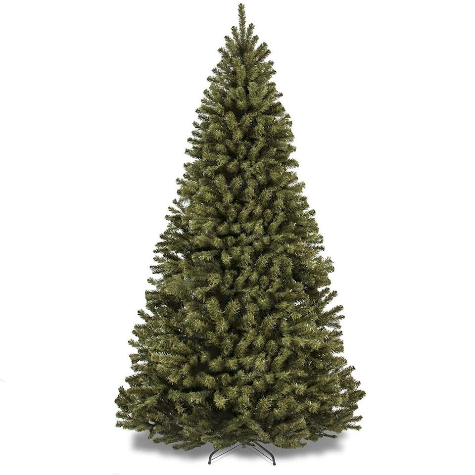 best choice products 7.5 foot spruce hinged artificial christmas tree on a white background