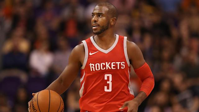 "<a class=""link rapid-noclick-resp"" href=""/nba/players/3930/"" data-ylk=""slk:Chris Paul"">Chris Paul</a> won't play in Game 7 Monday night. (AP)"