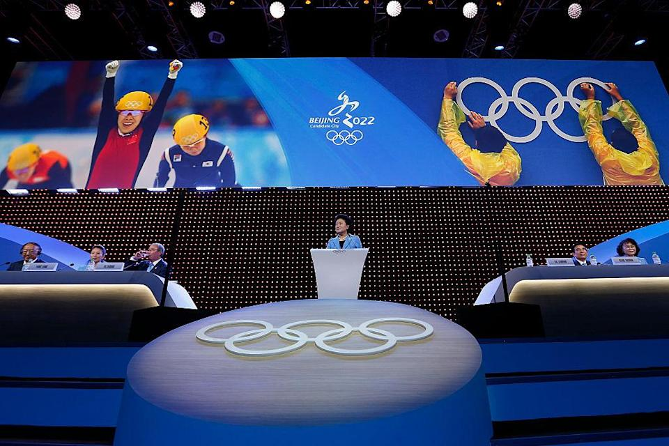 China's Vice Premier Liu Yandong delivers a speech during Beijing's 2022 Olympic Winter Games bid presentation. (Getty)