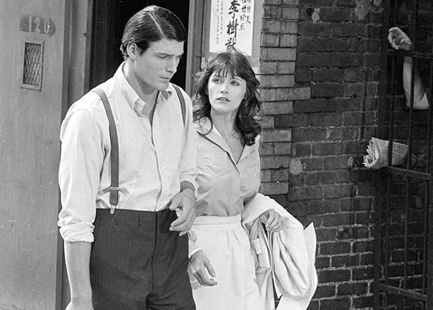 Christopher Reeve, left, and Margot Kidder appear