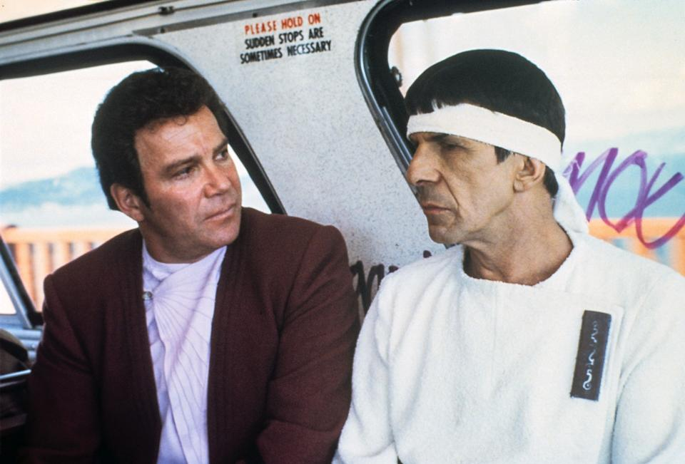 Shatner and Leonard Nimoy in Star Trek IV: The Voyage Home, which celebrates its 35th anniversary this year. (Photo: Paramount/Courtesy Everett Collection)