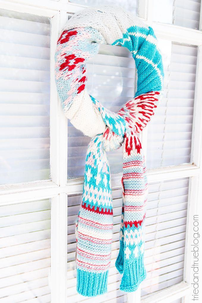 """<p>Don't let a small rip or tear make you throw your favorite scarf away! Upcycle it (or pick one up at the dollar store) to craft this cozy wreath on the cheap.</p><p><strong>Get the tutorial at <a href=""""https://www.triedandtrueblog.com/10-minute-scarf-wreath/"""" rel=""""nofollow noopener"""" target=""""_blank"""" data-ylk=""""slk:Tried and True"""" class=""""link rapid-noclick-resp"""">Tried and True</a>.</strong></p><p><a class=""""link rapid-noclick-resp"""" href=""""https://www.amazon.com/FloraCraft-Extruded-Styrofoam-Wreath-Bulk/dp/B002TPVVDE/ref=sr_1_3?tag=syn-yahoo-20&ascsubtag=%5Bartid%7C10050.g.23489557%5Bsrc%7Cyahoo-us"""" rel=""""nofollow noopener"""" target=""""_blank"""" data-ylk=""""slk:SHOP FOAM WREATHS"""">SHOP FOAM WREATHS</a><strong><br></strong></p>"""