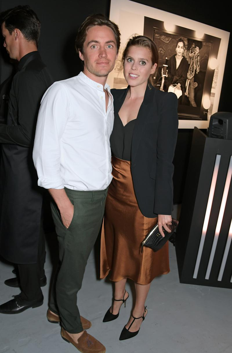 Edoardo Mapelli Mozzi and Princess Beatrice of York attend attends the Lenny Kravitz & Dom Perignon 'Assemblage' exhibition, the launch Of Lenny Kravitz' UK Photography Exhibition, on July 10, 2019 in London, England.