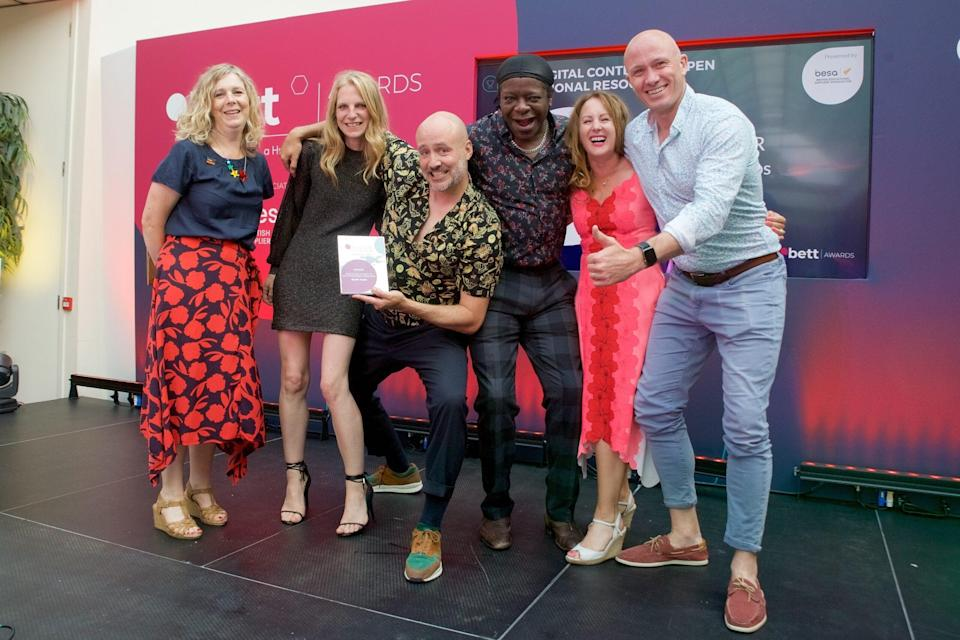 Earth Cubs CEO (Earth Cubs CEO Toby Hunt (far right) celebrates with his team after winning a BETT Award)
