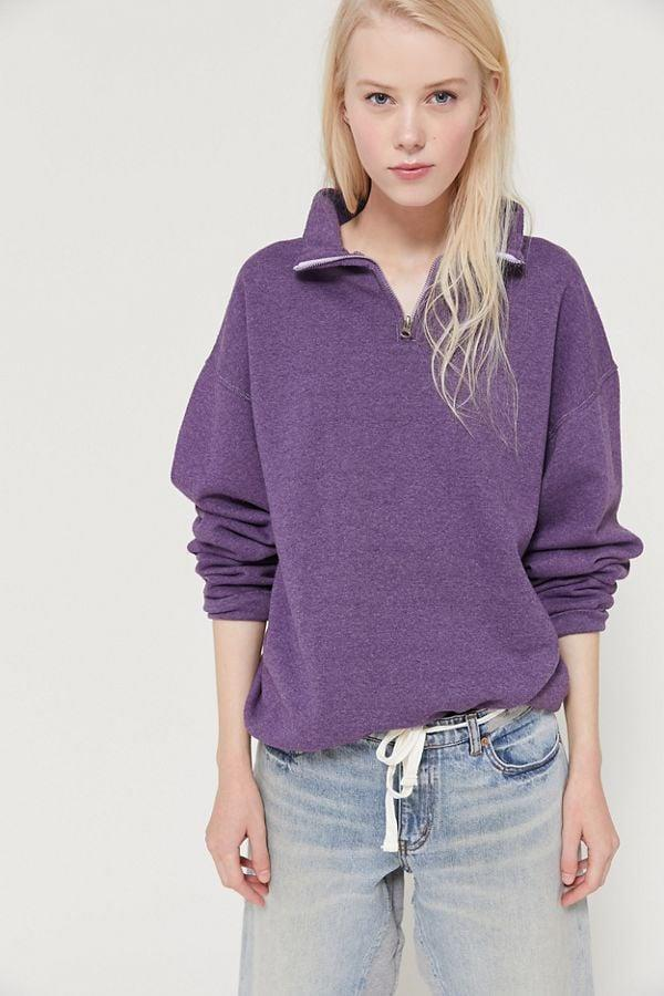"""<p>Get cozy with this classic <a href=""""https://www.popsugar.com/buy/Vintage-Overdyed-Quarter-Zip-Sweatshirt-490864?p_name=Vintage%20Overdyed%20Quarter-Zip%20Sweatshirt&retailer=urbanoutfitters.com&pid=490864&price=59&evar1=fab%3Aus&evar9=46618283&evar98=https%3A%2F%2Fwww.popsugar.com%2Ffashion%2Fphoto-gallery%2F46618283%2Fimage%2F46618292%2FVintage-Overdyed-Quarter-Zip-Sweatshirt&list1=shopping%2Cvintage%2Cfall%20fashion%2Cfall%2Csweatshirts&prop13=api&pdata=1"""" rel=""""nofollow"""" data-shoppable-link=""""1"""" target=""""_blank"""" class=""""ga-track"""" data-ga-category=""""Related"""" data-ga-label=""""https://www.urbanoutfitters.com/shop/vintage-overdyed-quarter-zip-sweatshirt?category=SEARCHRESULTS&amp;color=050"""" data-ga-action=""""In-Line Links"""">Vintage Overdyed Quarter-Zip Sweatshirt</a> ($59).</p>"""