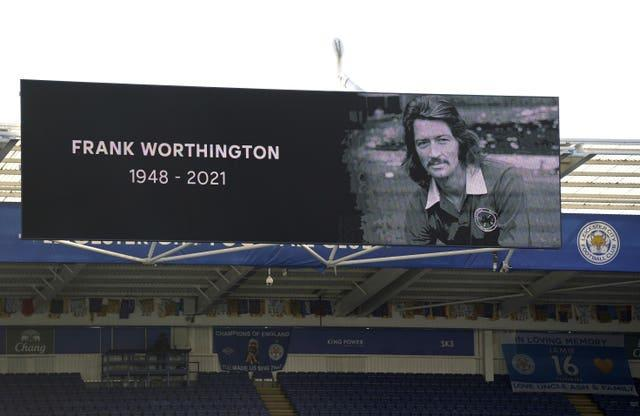 A minute's applause for Frank Worthington was observed before Leicester played Manchester City on April 3