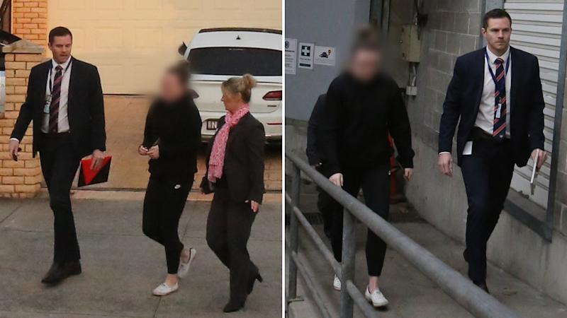Police vision of a female teacher being taken into custody, accused of sexually assaulting a male student
