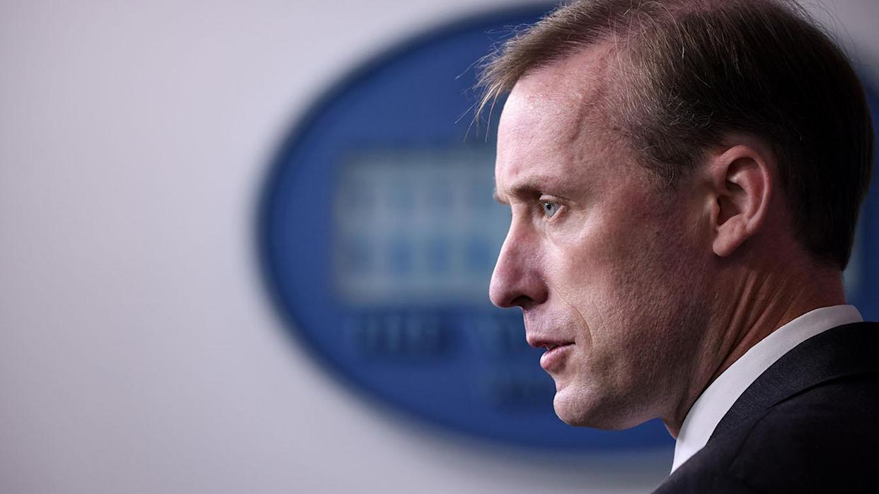 Jake Sullivan, White House national security adviser takes questions at a press conference at the White House on Tuesday.