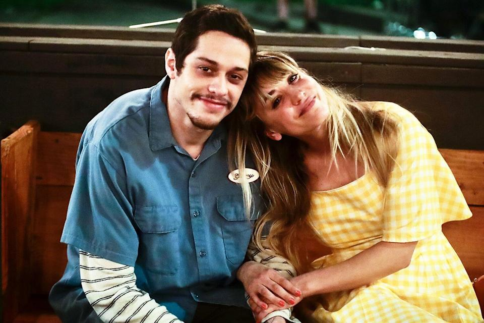 Pete Davidson and Kaley Cuoco are seen at the movie set of the 'Meet Cute' in New York City. 'Meet Cute' on set filming, New York, USA - 24 Aug 2021