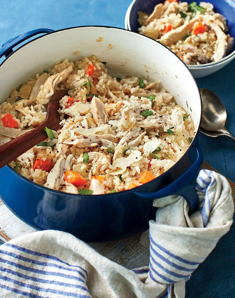 """<p><strong>Recipe: <a href=""""https://www.southernliving.com/recipes/chicken-bog-recipe"""" rel=""""nofollow noopener"""" target=""""_blank"""" data-ylk=""""slk:Chicken Bog"""" class=""""link rapid-noclick-resp"""">Chicken Bog</a><br></strong><br>Chicken Bog has been a staple meal in the Lowcountry for years because it's simple to make and will feed many mouths. </p>"""