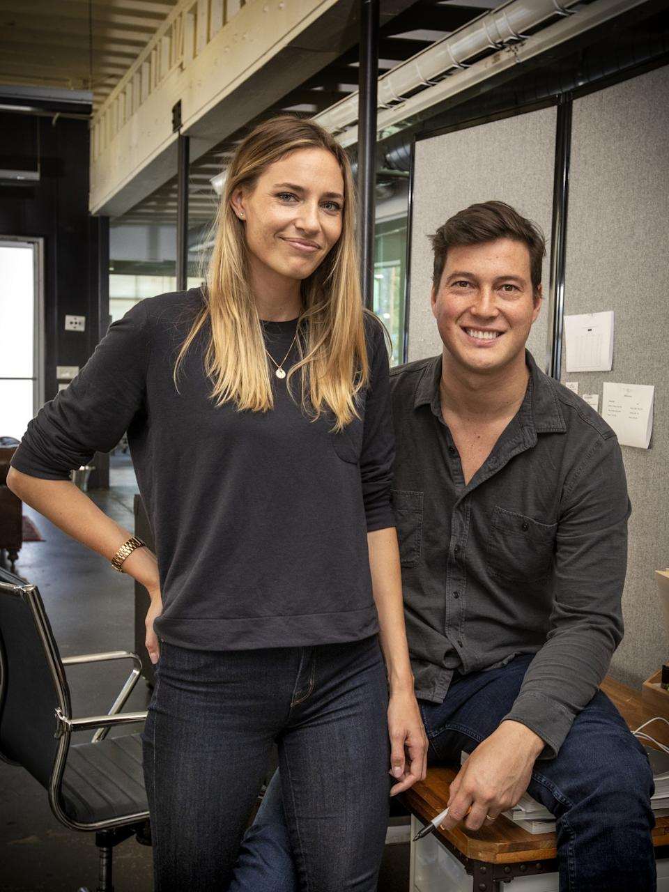 "Justin Schneider, founder and chief executive of shoe brand Wolf & Shepherd, and Hope Schneider, co-founder and head of marketing, at the brand's headquarters in El Segundo. <span class=""copyright"">(Ricardo DeAratanha / Los Angeles Times)</span>"