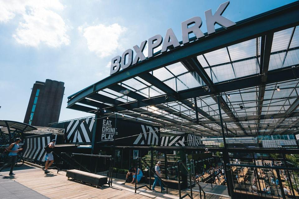 "<p><a href=""https://www.boxpark.co.uk/"" rel=""nofollow noopener"" target=""_blank"" data-ylk=""slk:Boxpark"" class=""link rapid-noclick-resp"">Boxpark</a>, one of London's original pop-up spaces now, will be welcoming guests back on April 12 to its three London locations: Shoreditch, Croydon and Wembley.</p>"