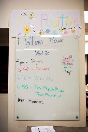 "A schedule is on display at the Lindner Center of Hope's ""Reboot"" program in Mason, Ohio, U.S., January 23, 2019. REUTERS/Maddie McGarvey"