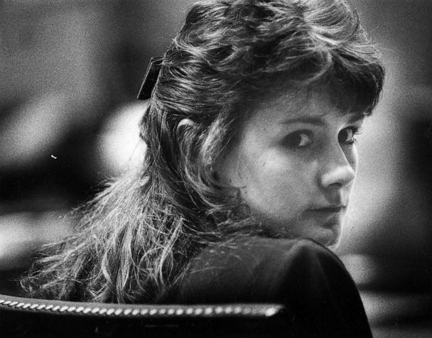 PHOTO: Pamela Smart, 23, stands trial on charges of being an accomplice to first-degree murder and conspiracy to commit murder at the Rockingham Superior County Court in Exeter, N.H., March 11, 1991. (Susanne Kreiter/The Boston Globe via Getty Images, FILE)