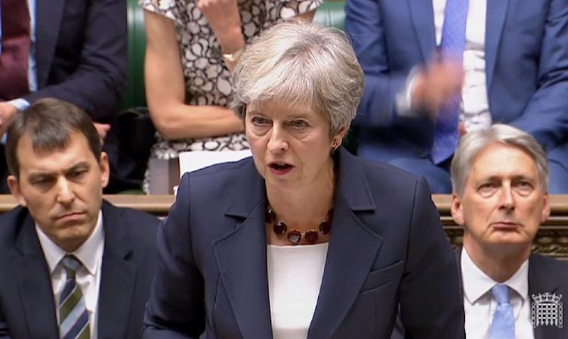 Britain's Prime Minister Theresa May made a statement in the House of Commons in London on the police investigation into the March 4 nerve agent attack (AFP Photo/HO)