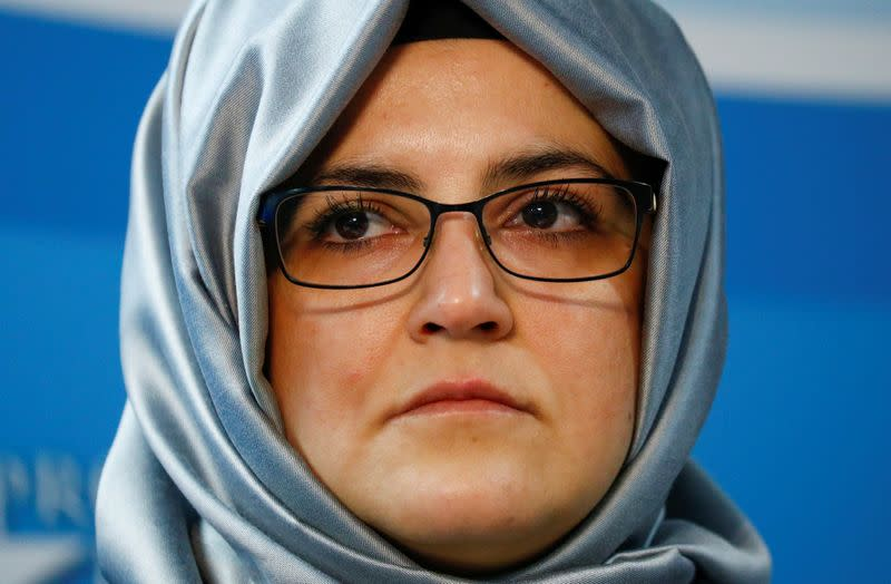 Cengiz, the fiancee of murdered journalist Jamal Khashoggi, attends a news conference in Brussels