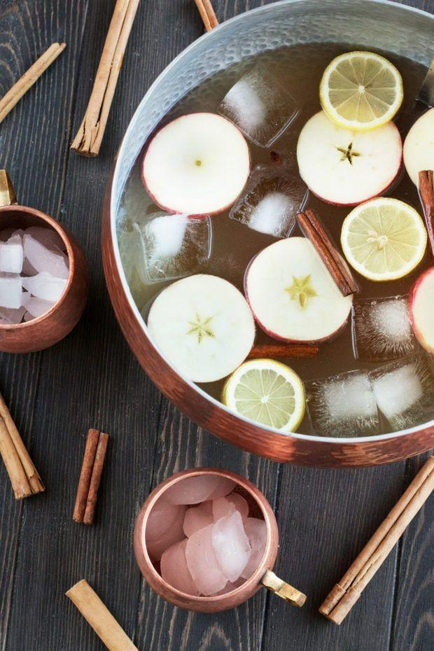 """<p>Think of this as a giant Moscow mule—with a kick! It has ginger brandy, ginger bitters, and ginger beer.</p><p><strong>Get the recipe at <a href=""""https://www.cakenknife.com/gingerbread-bourbon-punch/"""" rel=""""nofollow noopener"""" target=""""_blank"""" data-ylk=""""slk:Cake 'n Knife"""" class=""""link rapid-noclick-resp"""">Cake 'n Knife</a>.</strong> </p>"""