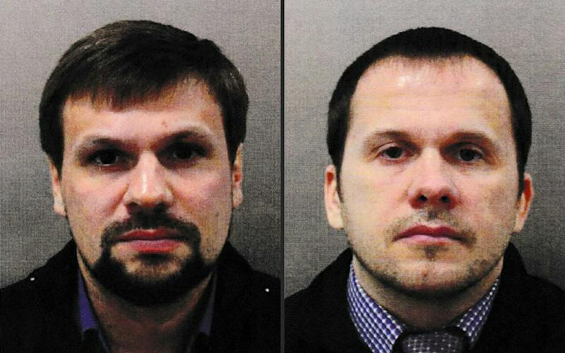Ruslan Boshirov (L) and Alexander Petrov were using aliases when travelling to the UK - AFP