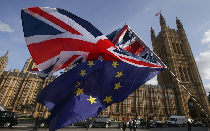 Demostrators flying a Union flag and an EU flag outside the Houses of Parliament - AFP
