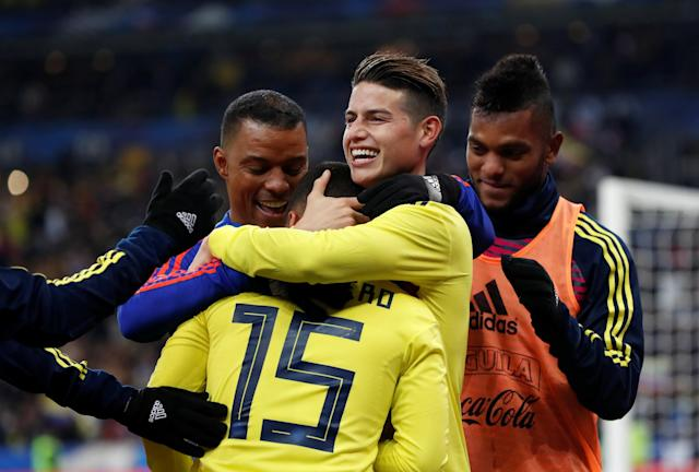 Soccer Football - International Friendly - France vs Colombia - Stade De France, Saint-Denis, France - March 23, 2018 Colombia's James Rodriguez celebrates with team mates after the match REUTERS/Gonzalo Fuentes