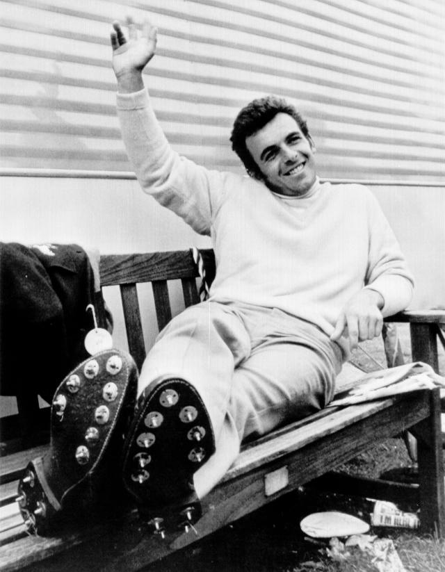 FILE - In this July 11, 1969, file photo, Britain's Tony Jacklin relaxes on a bench at the 18th hole after finishing the third-round in the British Open golf championship at Lytham St. Annes, England. Jacklin won the British Open 50 years ago. (AP Photo/File)