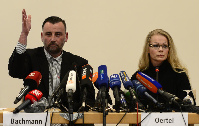 Lutz Bachmann (L), leader of the anti-Islamic PEGIDA (Patriotic Europeans Against the Islamisation of the Occident) movement, gives a press conference on January 19, 2015, in Dresden, Germany (AFP Photo/Robert Michael)
