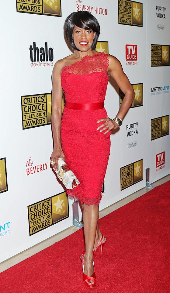 "Back in Beverly Hills at the Critics Choice TV Awards, ""Southland"" star Regina King sizzled in a lacy, one-shouldered Romona Keveza dress and satin peep-toes. As her former ""227"" colleague Jackee Harry (aka <a target=""_blank"" href=""http://www.youtube.com/watch?v=3SzZZfEnKUo"">Sandra Clark</a>) would say, ""Ooooo, Maaaary!"" (6/18/2012)"