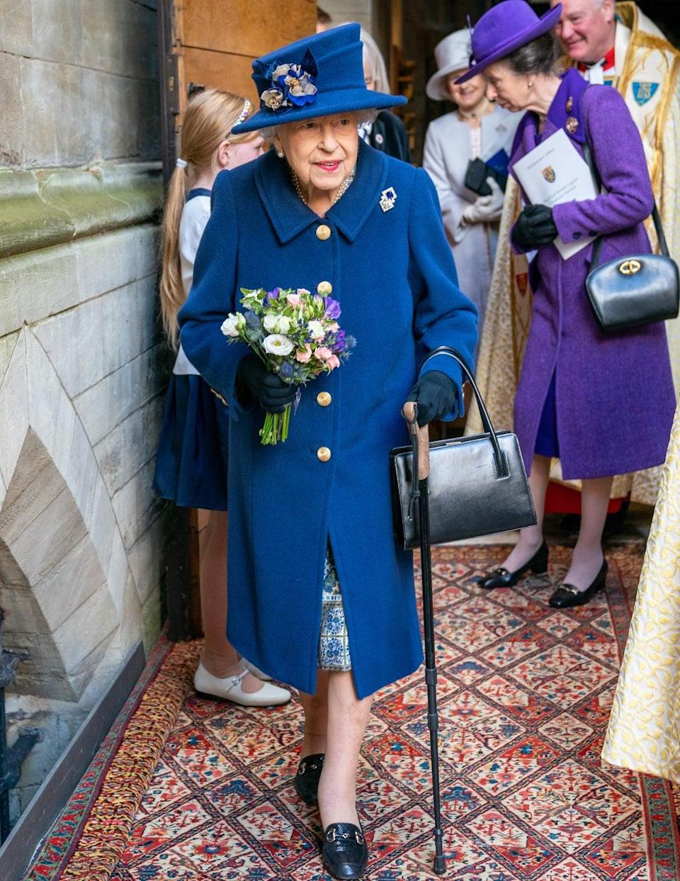 The Queen used a walking stick at Westminster Abbey on Tuesday (Arthur Edwards/The Sun/PA) (PA Wire)