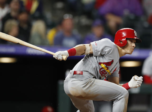 St. Louis Cardinals' Tommy Edman grounds into a double play during the ninth inning of the team's baseball game against the Colorado Rockies on Wednesday, Sept. 11, 2019, in Denver. Colorado won 2-1. (AP Photo/David Zalubowski)