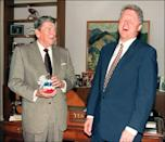 "<p>President Reagan <a href=""https://www.reaganlibrary.gov/reagans/ronald-reagan/jelly-bellyr-jelly-beans-and-ronald-reagan"" rel=""nofollow noopener"" target=""_blank"" data-ylk=""slk:was a big fan of jelly beans,"" class=""link rapid-noclick-resp"">was a big fan of jelly beans,</a> so much so that the Jelly Belly company provided him with a stock while he was in office. During their transition of power, President Reagan gifted then President-elect Clinton with some patriotic sweets of his own. </p>"