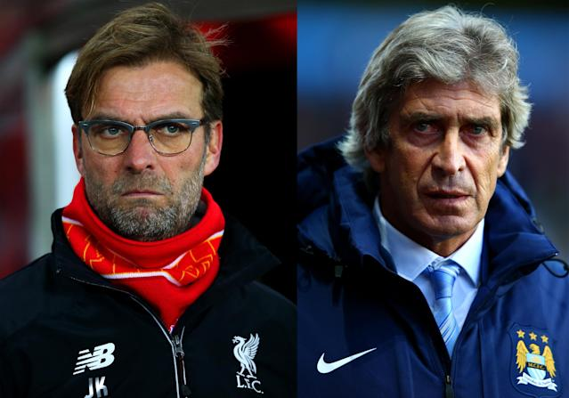 (FILE PHOTO - Image Numbers 502929048 (L) and 456637674) In this composite image a comparison has been made between Jurgen Klopp, manager of Liverpool and Manuel Pellegrini, manager of Manchester City. Liverpool and Manchester City meet in the Capital One Cup Final at Wembley Stadium on February 28, 2016 in London,England. ***LEFT IMAGE*** SUNDERLAND, ENGLAND - DECEMBER 30: Jurgen Klopp, manager of Liverpool looks on before the Barclays Premier League match between Sunderland and Liverpool at Stadium of Light on December 30, 2015 in Sunderland, England. (Photo by Ian MacNicol/Getty Images) ***RIGHT IMAGE*** BIRMINGHAM, ENGLAND - OCTOBER 04: Manuel Pellegrini, manager of Manchester City looks on before the Barclays Premier League match between Aston Villa and Manchester City at Villa Park on October 4, 2014 in Birmingham, England. (Photo by Ian Walton/Getty Images)
