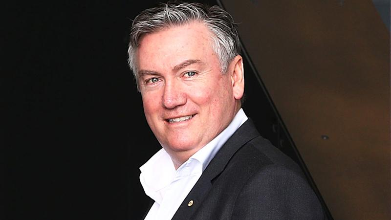 Eddie McGuire is pictured outside a Collingwood Magpies training session.