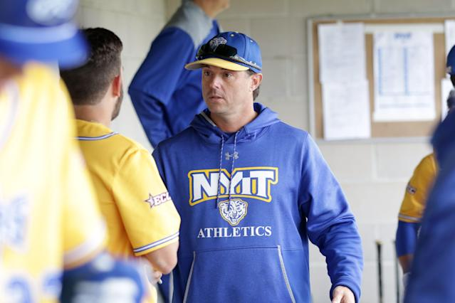 NYIT coach Frank Catalanotto played for several MLB teams in his 14-year career. His retirement plan didn't originally include coaching a college squad. (Courtesy of Adam Rubin)