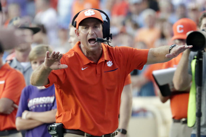 Clemson's Dabo Swinney yells to an official during the fourth quarter of a game against North Carolina on Sept. 28, 2019. (AP)