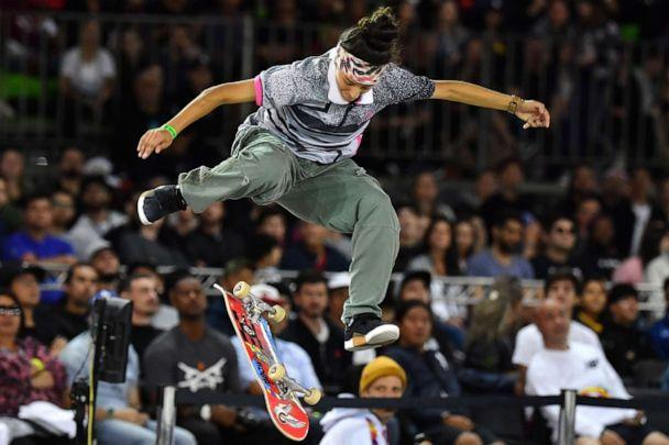 PHOTO: US skateboarder Mariah Duran competes in the Street League Skateboarding championship semifinal in Sao Paulo, Brazil, Sept. 21, 2019. (Nelson Almeida/AFP via Getty Images, FILE)