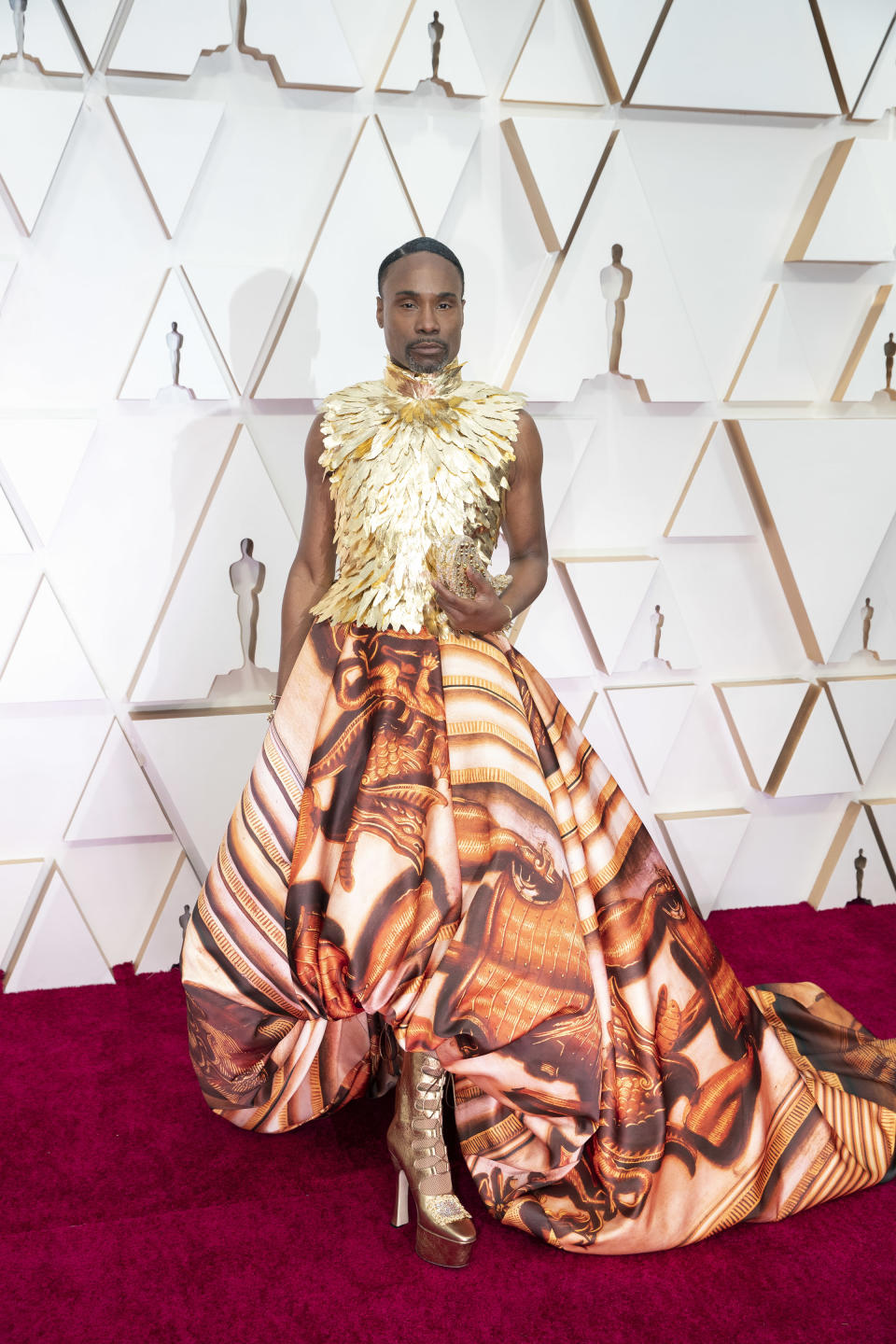 """The """"Pose"""" star hit the red carpet in a Roman-inspired couture ensemble by British designer Giles Deacon."""