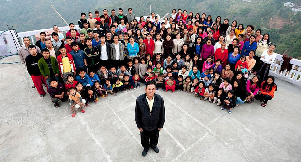 A family photograph of the Ziona family on January 30, 2011 in Baktawang, Mizoram, India. Source: Richard Grange/Barcroft India via Getty Images