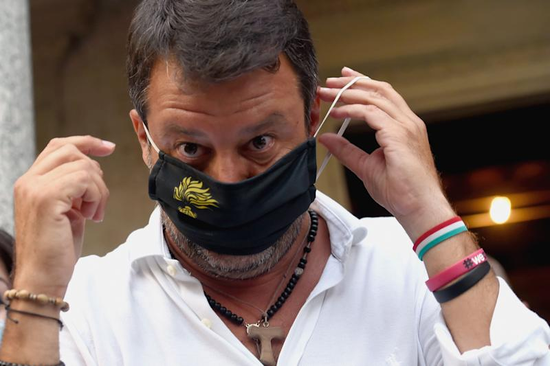SARONNO, ITALY - AUGUST 31: The leader of the Lega Nord Party, Matteo Salvini wears protective mask arrives at the rally at Villa Gianetti on August 31, 2020 in Saronno, Italy.Matteo Salvini participates in the electoral campaign of the next administrative and regional elections in seven regions of Italy Veneto, Campania, Tuscany, Liguria, Marche, Puglia and Valle d'Aosta on 20 and 21 September. (Photo by Pier Marco Tacca/Getty Images) (Photo: Pier Marco Tacca via Getty Images)