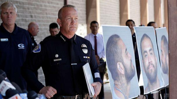 PHOTO: Garden Grove Police Chief Tom DaRe prepares to address the media next to a booking mug shot of Zachary Castaneda posted outside of the Garden Grove Police Department headquarters in Garden Grove, Calif., Aug. 8, 2019. (Marcio Jose Sanchez/AP)