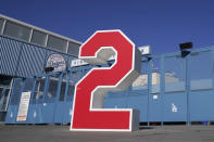 The retired number 2, in honor of former Los Angeles Dodgers manager Tommy Lasorda, is shown at the Retired Numbers Plaza at Dodger Stadium Friday, Jan. 8, 2021, in Los Angeles. Tommy Lasorda, the fiery Hall of Fame manager who guided the Los Angeles Dodgers to two World Series titles and later became an ambassador for the sport he loved during his 71 years with the franchise, has died. He was 93. (AP Photo/Marcio Jose Sanchez)