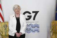 U.S. Treasury Secretary Janet Yellen poses for photographs as finance ministers from across the G7 nations meet at Lancaster House in London, Saturday, June 5, 2021, ahead of the G7 leaders' summit. (AP Photo/Alberto Pezzali, Pool)