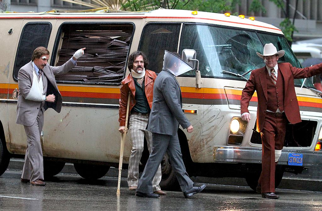 "Paul Rudd, Steve Carell, David Koechner and Will Ferrell sport some bruises and bandages on the set of ""Anchorman: The Legend Continues"" in Manhattan, NYC.