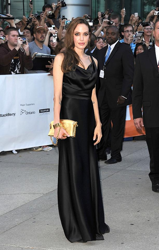 """<a href=""""http://movies.yahoo.com/movie/contributor/1800019275"""">Angelina Jolie</a> at the 2011 Toronto Film Festival premiere of """"Moneyball"""" on September 9, 2011."""