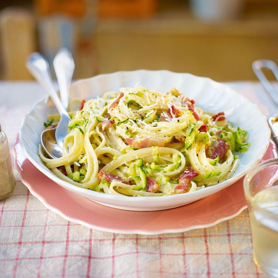 """<p>Sneak courgette into your carbonara. A perfect way to bulk out a pasta supper.</p><p><strong>Recipe: <a href=""""https://www.goodhousekeeping.com/uk/food/recipes/courgette-carbonara"""" rel=""""nofollow noopener"""" target=""""_blank"""" data-ylk=""""slk:Courgette carbonara"""" class=""""link rapid-noclick-resp"""">Courgette carbonara </a></strong></p>"""