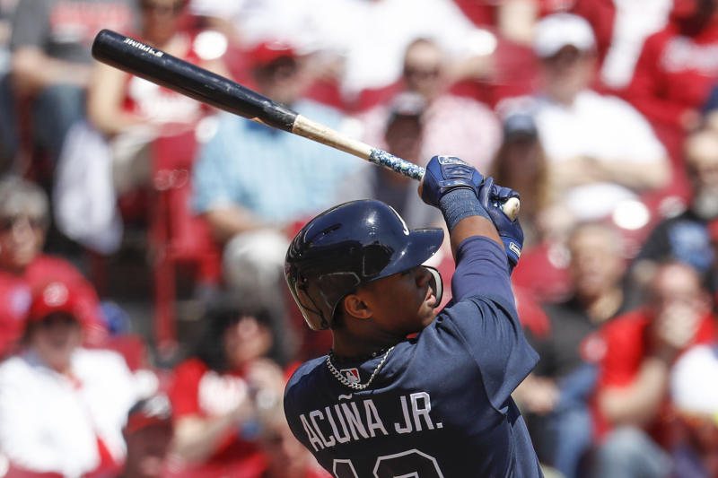 Atlanta Braves' rookie Ronald Acuna Jr. blasted his first career homer Thursday against the Reds. (AP)