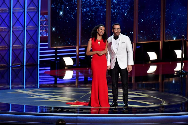 Actors Sonequa Martin-Green and Jeremy Piven speak onstage during the 69th Annual Primetime Emmy Awards at Microsoft Theater on Sept. 17, 2017 in Los Angeles, California.