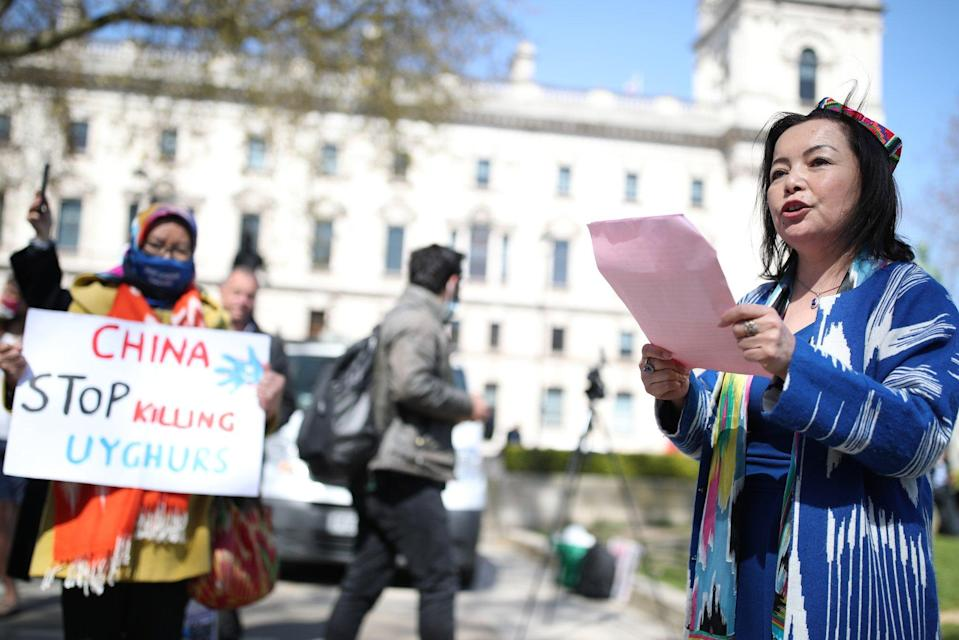 Rahima Mahmut of the World Uygur Congress at a demonstration in London ahead of the parliamentary debate on the motion. Photo: PA Wire vvia dpa