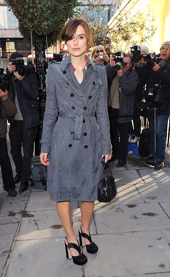 "Keira Knightley was all class in a lacy gray Burberry trench coat as she made her way in to the Laurence Olivier Awards nominee's luncheon in London. Ferdaus Shamim/<a href=""http://www.wireimage.com"" target=""new"">WireImage.com</a> - March 2, 2010"